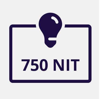 750 NIT Display Brightness