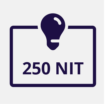 Display Brightness 250 NIT